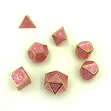 Metal Dice Swirl Pink with Gold Numbers for D&D