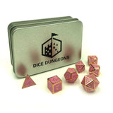 Metal Pink & Gold 7 Piece Dice Set with Display Box