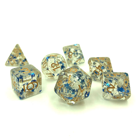 Blue Star Glitter Dice Set