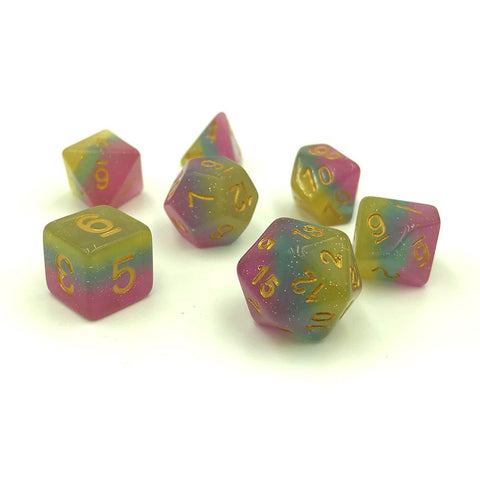 Rainbow Layered Sparkle Dice