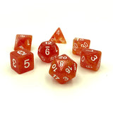 Sparkle Unicorn Orange Polymer Dice Set