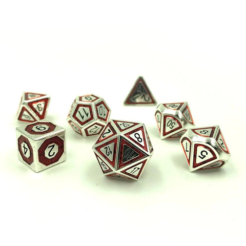 Metal BullsEye Red Dice Set