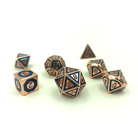 Metal BullsEye Blue Dice Set