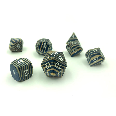Blue & White Technical Wood Wooden Dice Set
