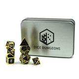 Metal Imperial Black & Gold Dice Set with Display Box
