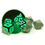 Metal Imperial Glow in the Dark Dice Set with Display Box