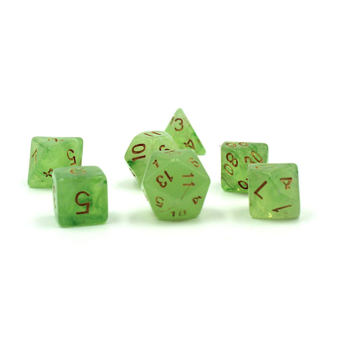 Jade Silk Polymer Dice Set