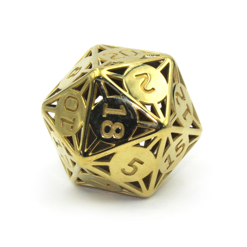 Metal Jumbo Brass 55mm D20 Cage Dice