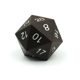 Large wood dice made from ebony. d20.