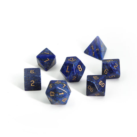 Gemstone Lapis Lazuli Dice Set with Display Box