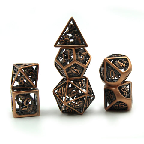 Metal Antique Copper Dragon Cage Dice Set