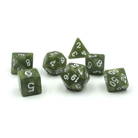 Mist Glitter Green Polymer Dice Set