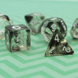 Clear dice set with black ink injected inside. For dungeons and dragons.