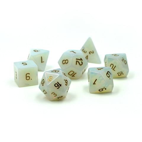 Gemstone Opalite Dice Set