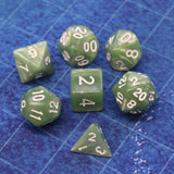 Pearlescent Moss Green Polymer Dice Set