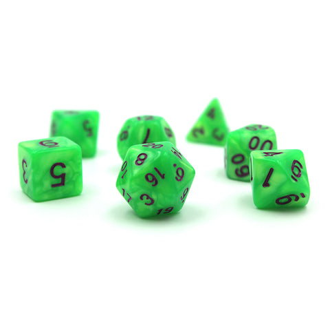 Pearlescent Light Green Polymer Dice Set