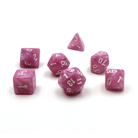 Pearlescent Pink Polymer Dice Set