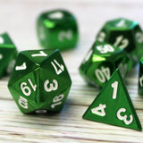 Bright green electroplated dice with white numbering. Dungeons and Dragons dice.