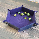 Rolling Tray Metal Dice Holder Storage Box for RPG DND Table Games, Pentagonal PU Leather and Velvet Purple with Dice