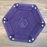 Rolling Tray Metal Dice Holder Storage Box for RPG DND Table Games, Pentagonal PU Leather and Velvet Purple