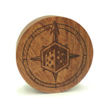 Rose Wood Dice Box - Front Cover Compass Rose Design