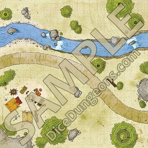 Sample art for Roadside Campsite Dungeons and Dragons Battlemap