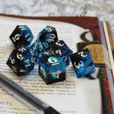 Blue & Black Sharp Resin Dice for Dungeons and Dragons