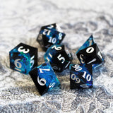 Layered Blue & Black Sharp Edge Resin Dice with inclusions
