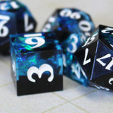 Blue Sharp Edge Resin Dice - closeup