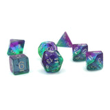 Sunset Blue - layered plastic dice set.