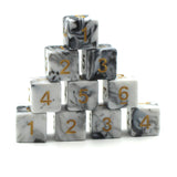 Swirl Black & White 10d6 Polymer Dice Set