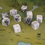 black & white marble - 10 d6s on a map