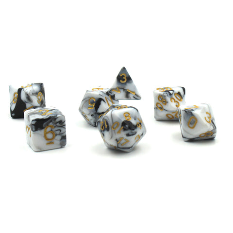Swirl Black & White Polymer Dice Set