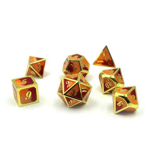 Metal Tri-Color Imperial Red and Yellow Dice Set