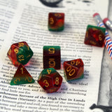 Watermelon Polymer Dice Set scaled on book.