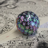 Metal D100 Rainbow Chrome dice with white numbers.
