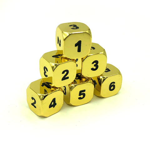 Metal Bright Gold d6 Dice Set