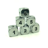 Metal Bright Silver d6 Dice Set