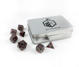 Metal Ember Black Nickel Dice Set with Box