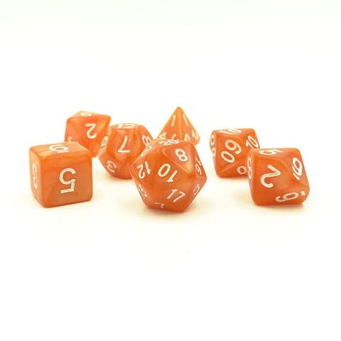 Pearlescent Orange Plastic Dice Set