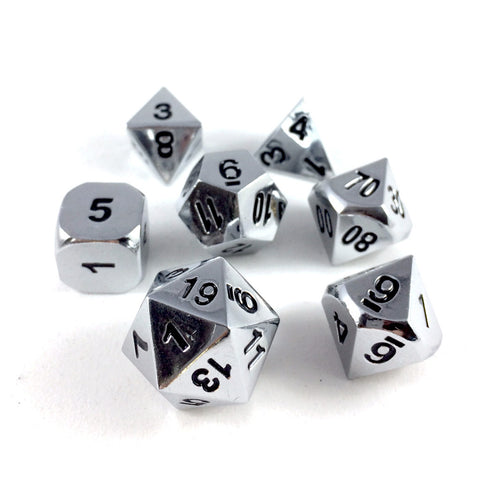 Metal Silver RPG Dice Set