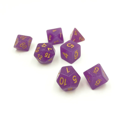 Sparkle Purple Unicorn Polymer Dice Set