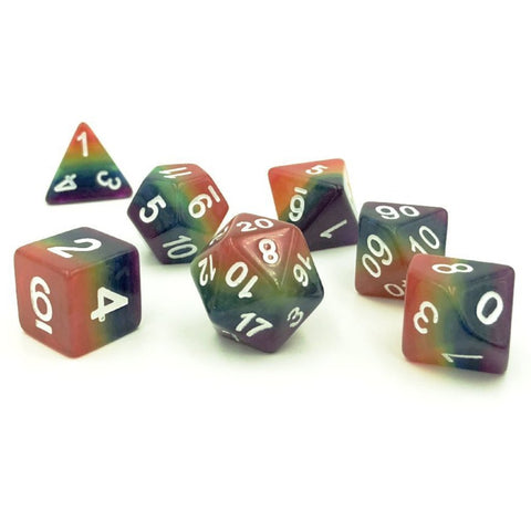 Rainbow Layer Multicolor Polymer Dice Set