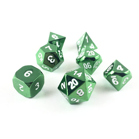 Metal Radiant Dragonscale Green Dice Set with Display Box