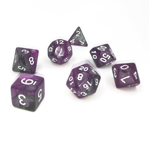 Silver & Purple Polymer RPG Dice Set