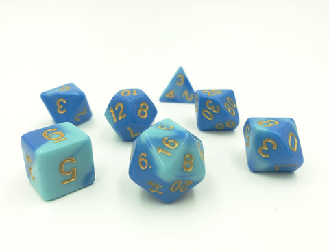 Swirl Blue & Light Blue Polymer Dice Set