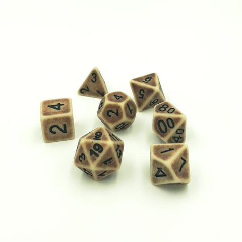 Ancient Bone Brown Polymer Dice Set