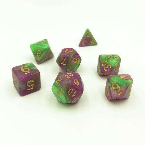 Swirl Green & Pink Polymer Dice Set