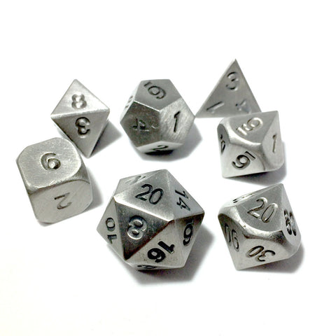 Metal PlateMetal Gray RPG Dice Set