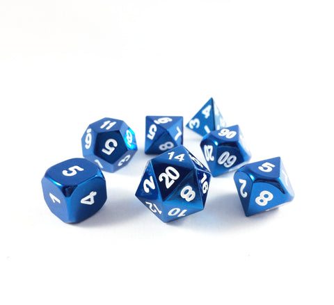 Metal Radiant Blue Dice Set with Display Box